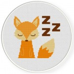Sleeping Fox Cross Stitch Illustration