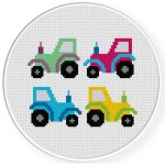 Small Tractors Cross Stitch Illustration