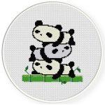 Stacked Cute Pandas Cross Stitch Illustration