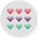 Three Hearts Cross Stitch Illustration