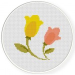 Two Flowers Cross Stitch Illustration