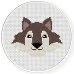 Wolf Head Cross Stitch Illustration