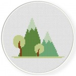 Wonderful Mountains Cross Stitch Illustration