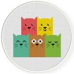 Bunch of Cats Cross Stitch Illustration