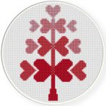 Heart Tree Cross Stitch Illustration