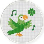 Lucky Parrot Cross Stitch Illustration