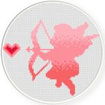 Ombre Cupid Cross Stitch Illustration