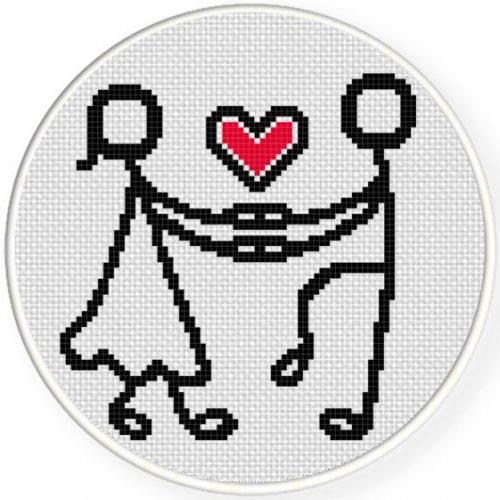 Stick People Couple Stitch Illustration