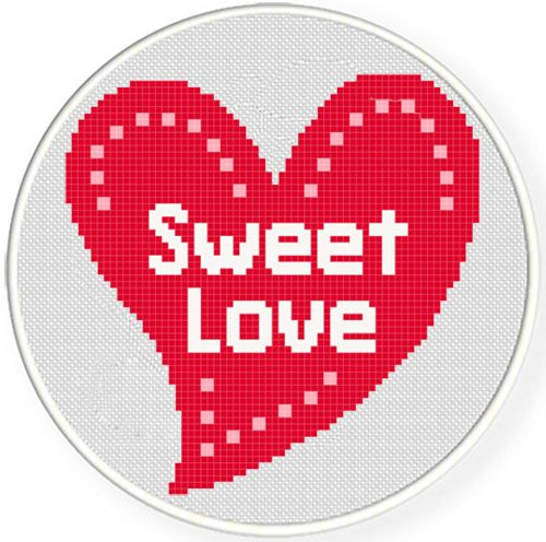 Sweet Love Cross Stitch Illustraition