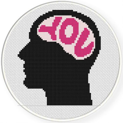 You in my Mind Cross Stitch Illustration
