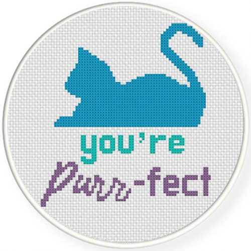 You_re Purr-fect Cross Stitch Illustration