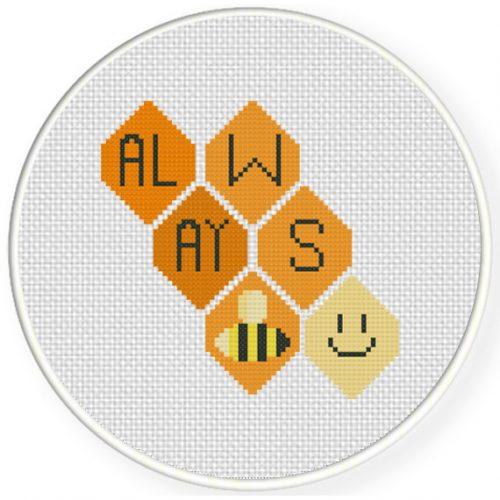 Always Bee Happy Cross Stitch Illustration