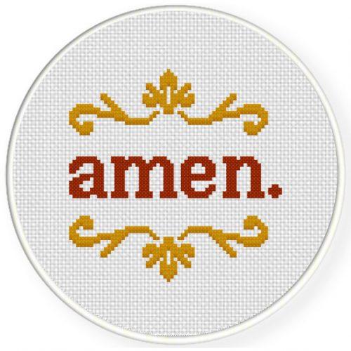 Amen Cross Stitch Illustration