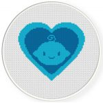 Baby Boy Heart Symbol Cross Stitch Illustration