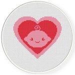 Baby Girl Heart Symbol Cross Stitch Illustration