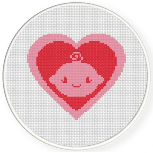 Baby Girl Heart Symbol Cross Stitch Illustration