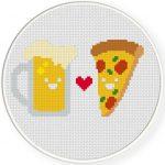 Beer Loves Pizza Cross Stitch Illustration
