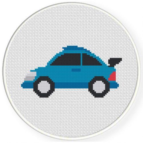 Blue Cute Sports Car Cross Stitch Illustration