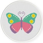Colorful Butterfly Cross Stitch Illustration