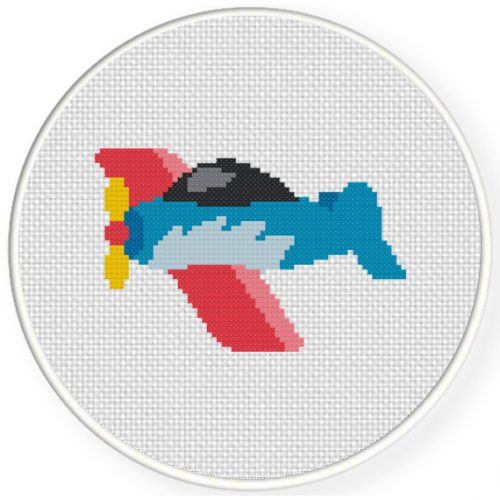 Cute Little Plane Cross Stitch Illustration