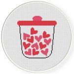 Decorative Jar of Hearts Cross Stitch Illustration