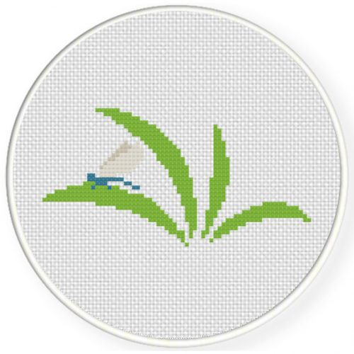 Dragonfly On A Leaf Cross Stitch Illustration