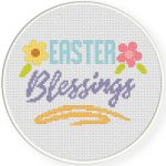 Easter Blessings Cross Stitch Illustration