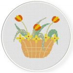 Flower Basket Cross Stitch Illustration