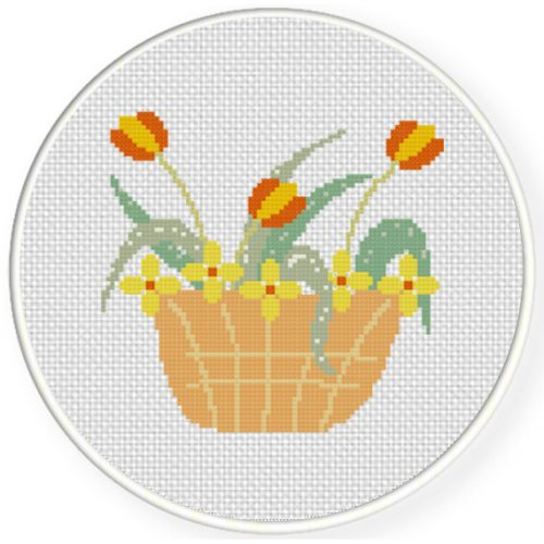 Flower Basket Cross Stitch Illustration