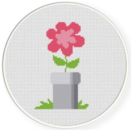 Flower Pipe Cross Stitch Illustration