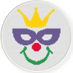 Happy Carnival Clown Cross Stitch Illustration