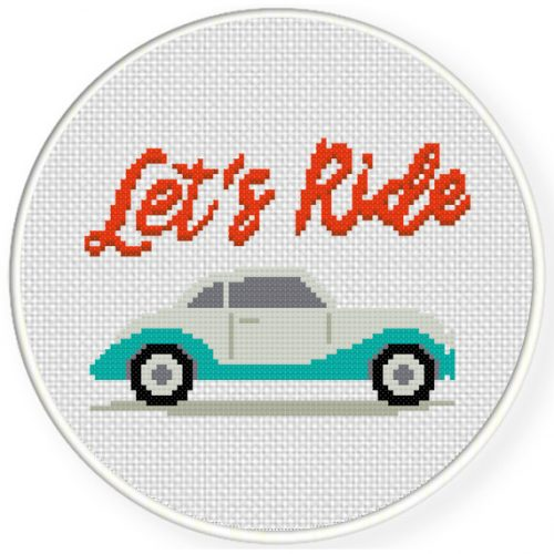 Let's Ride Cross Stitch Illustration