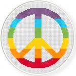 Rainbow Peace Cross Stitch Illustration
