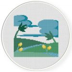 River Nature Cross Stitch Illustration