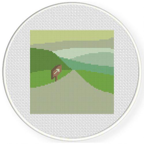 This Way Landscape Cross Stitch Illustration