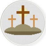 Three Crosses Cross Stitch Illustration