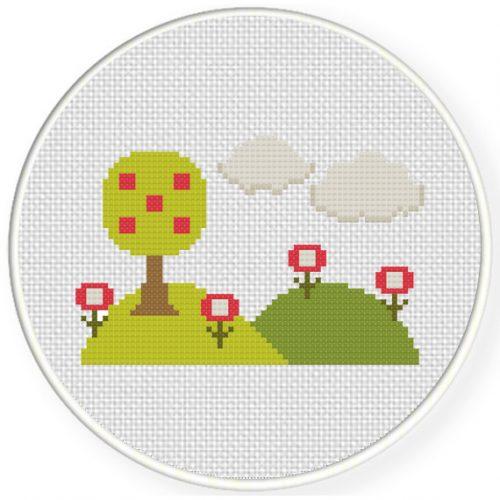 Tree And Hills Cross Stitch Illustration