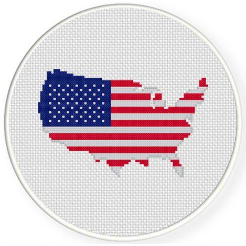 US Flag Map Cross Stitch Illustration