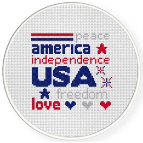 USA Cross Stitch Illustration