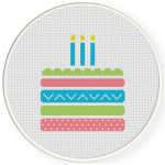 Yummy Birthday Cake Cross Stitch Illustration