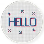 3D Effect Hello Cross Stitch Illustration