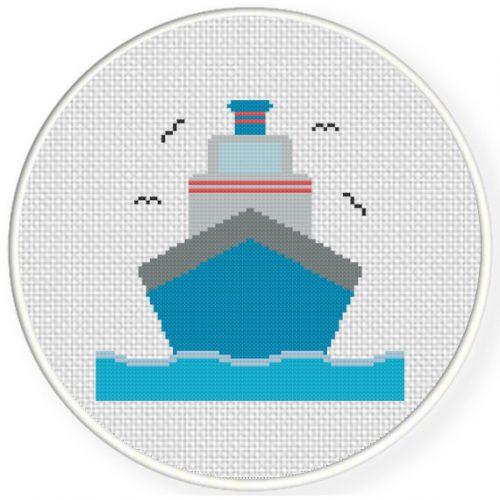 Big Ship Cross Stitch Illustration