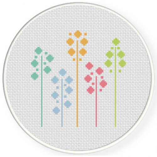 Colorful Vines Cross Stitch Illustration