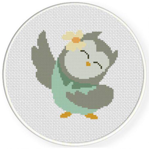 Dancing Owl Cross Stitch Illustration