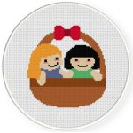 Doll Basket Cross Stitch Illustration