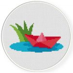 Floating Paper Boat Cross Stitch Illustration