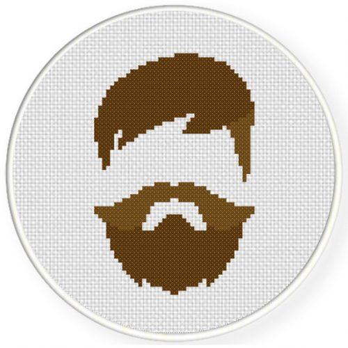 Hipster Man Cross Stitch Illustration