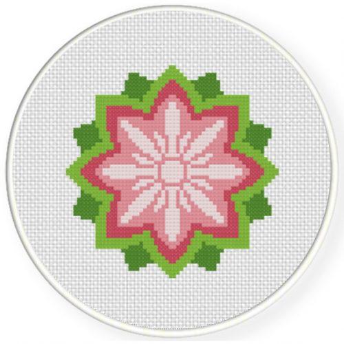 Lotus Cross Stitch Illustration