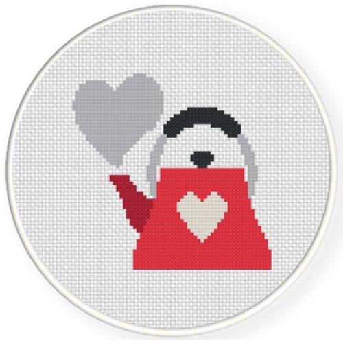 Love Kettle Cross Stitch Illustration