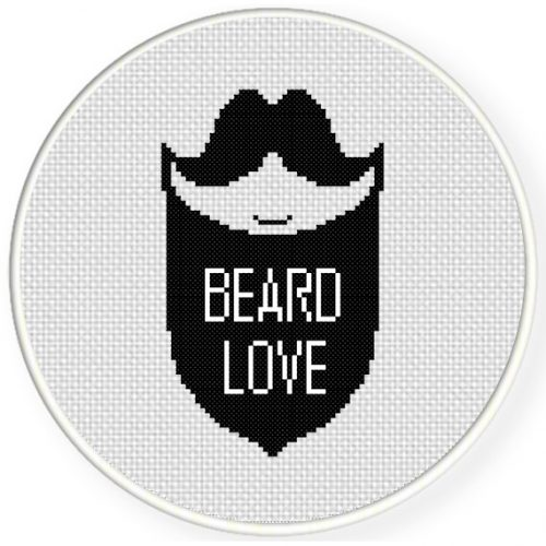 Love Your Beard Cross Stitch Illustration